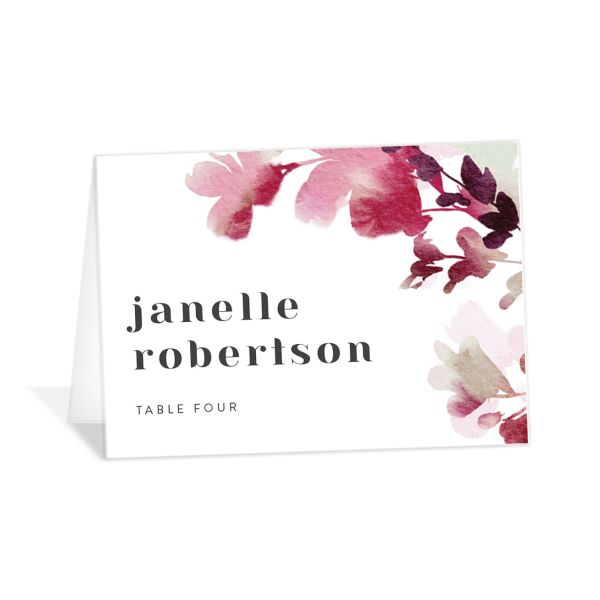 Watercolor Blooms place card burgundy