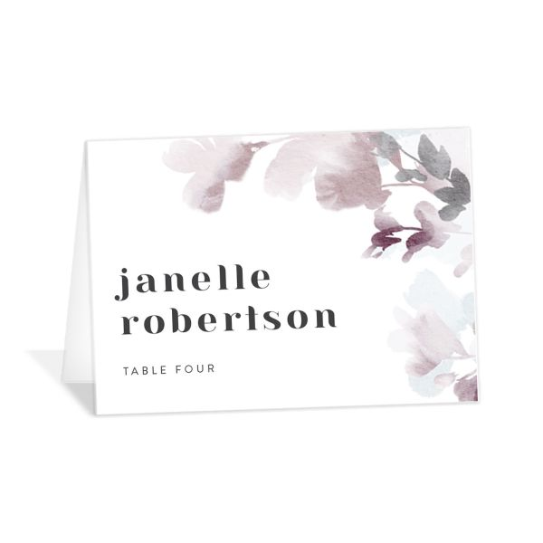 Watercolor Blooms place card gray