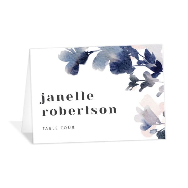 Watercolor Blooms place card navy