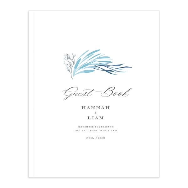 Elegant Beach guest book blue