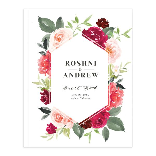Vibrant Floral guest book pink