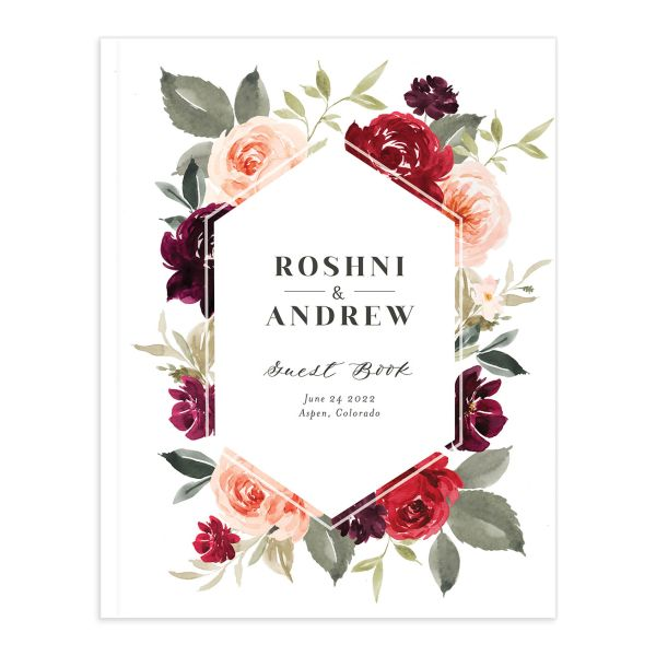 Vibrant Floral guest book red