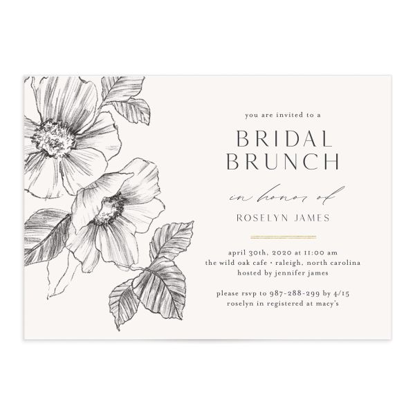 Botanical Floral bridal shower invitation front