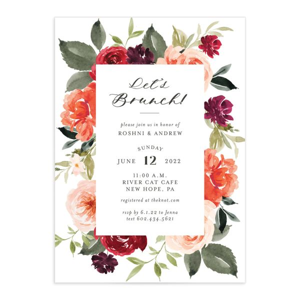 Vibrant Floral bridal shower invitation front orange
