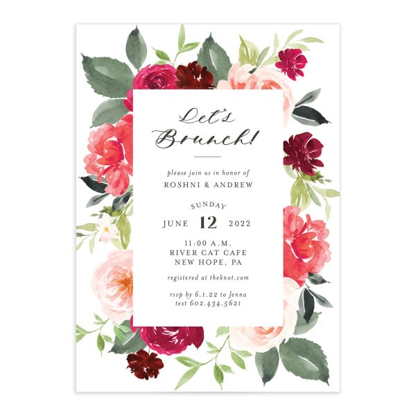 Vibrant Floral bridal shower invitation front pink