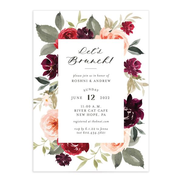 Vibrant Floral bridal shower invitation front red