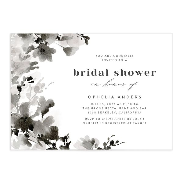Watercolor Blooms bridal shower invitation front black