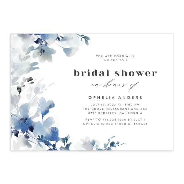 Watercolor Blooms bridal shower invitation front blue