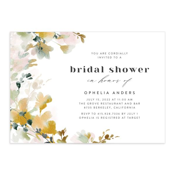 Watercolor Blooms bridal shower invitation front gold