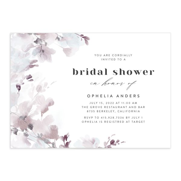 Watercolor Blooms bridal shower invitation front gray