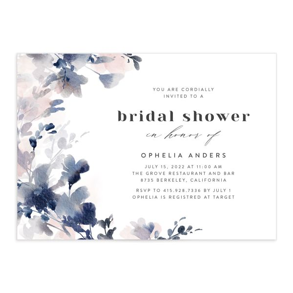 Watercolor Blooms bridal shower invitation front navy