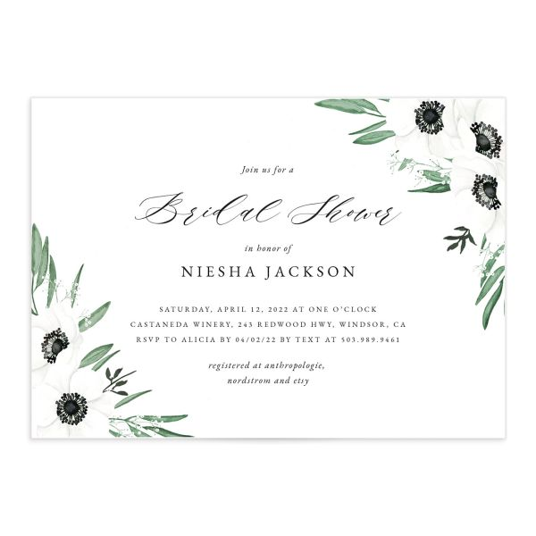 Classic Anemone bridal shower invitation front