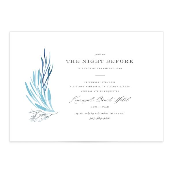 Elegant Beach rehearsal dinner invitation front blue
