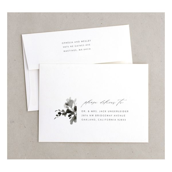 Watercolor Blooms envelope black