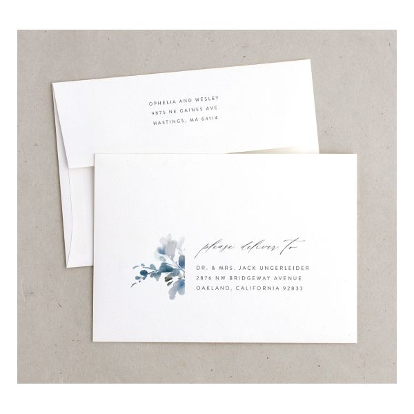 Watercolor Blooms envelope blue