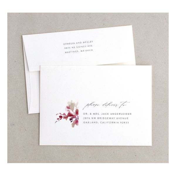Watercolor Blooms envelope burgundy