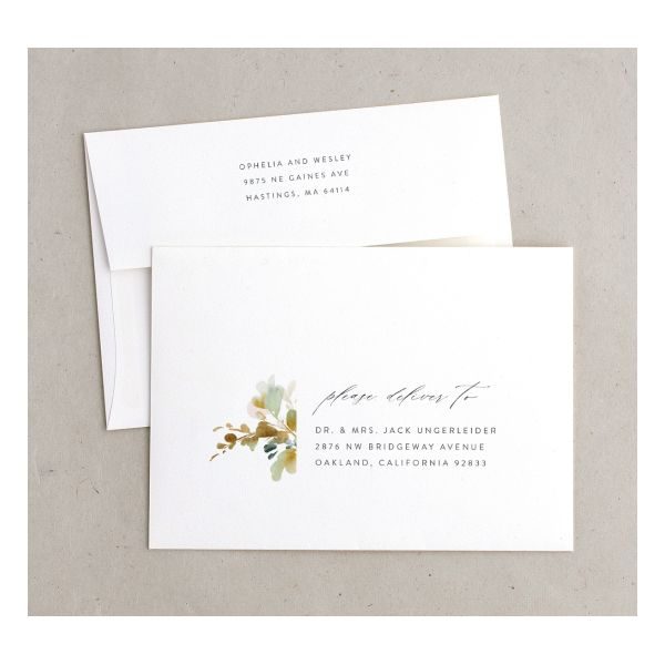 Watercolor Blooms envelope gold