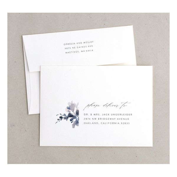 Watercolor Blooms envelope navy