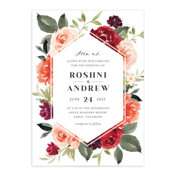 Vibrant Floral wedding invite card catalog in orange