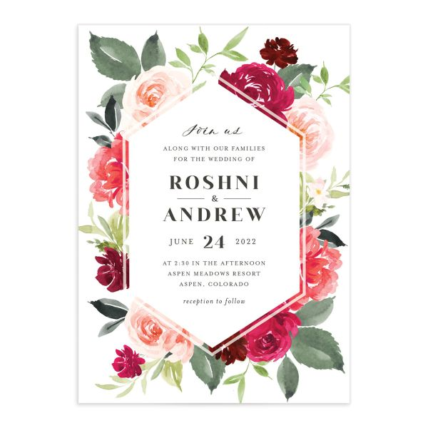 Vibrant Floral wedding invite card catalog in pink