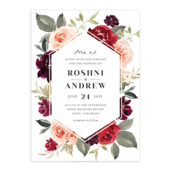 Vibrant Floral wedding invite card catalog in red