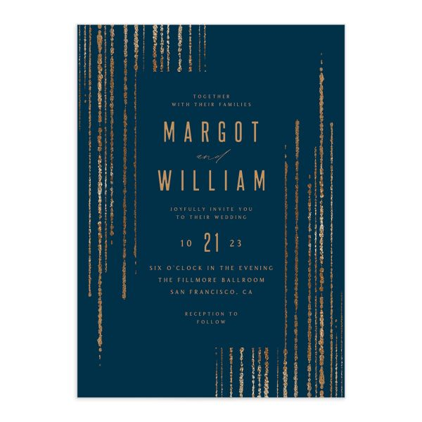 Classic Cascade Wedding Invitation Front Navy
