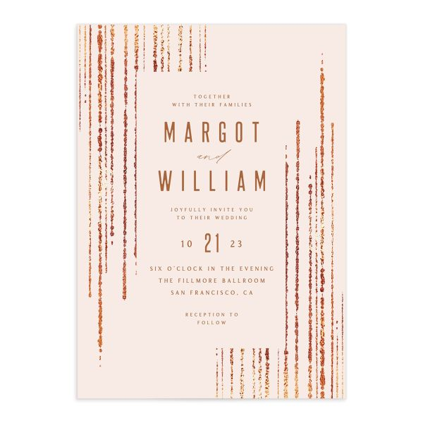 Classic Cascade Wedding Invitation Front Blush