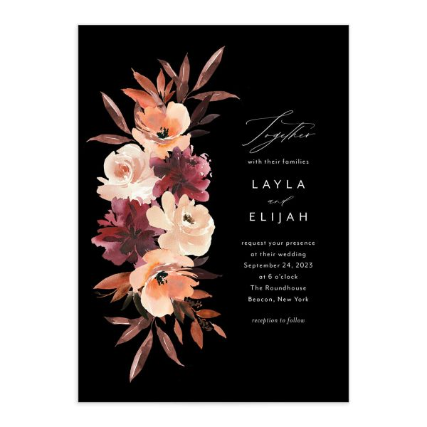 Leafy Floral wedding invitation front