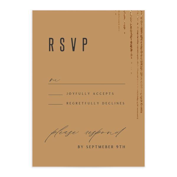 Classic Cascade Wedding Response Card Front Black