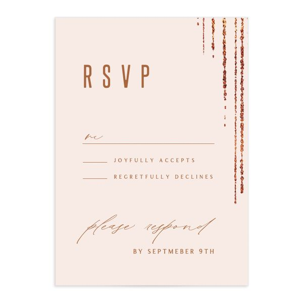 Classic Cascade Wedding Response Card Front Blush