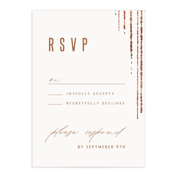 Classic Cascade Wedding Response Card Front White