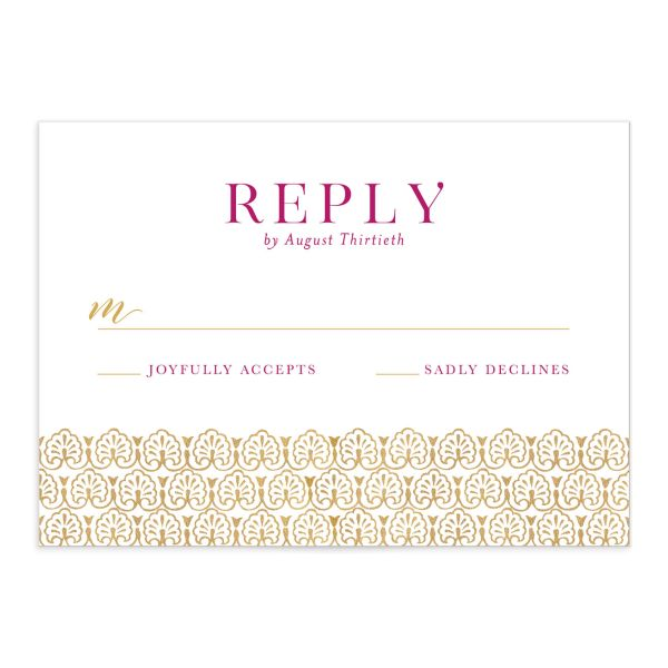 Ornamental Elegance Wedding Response Card Front Pink