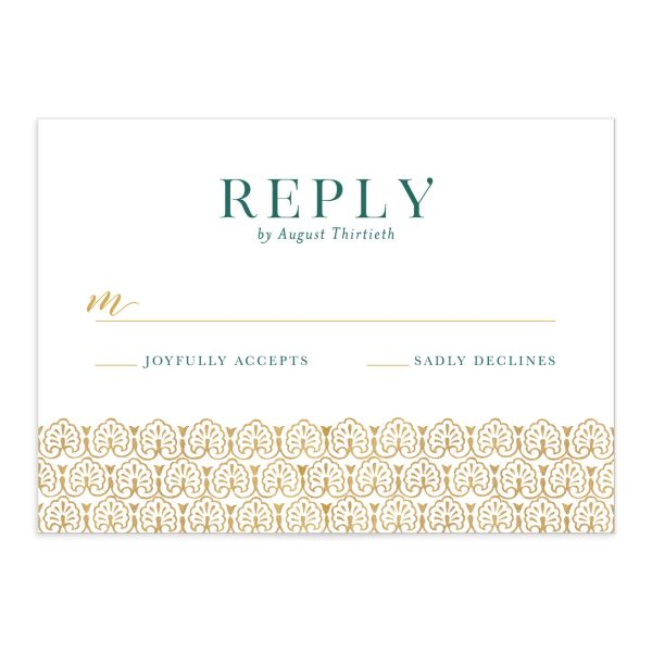 Ornamental Elegance Wedding Response Card Front White