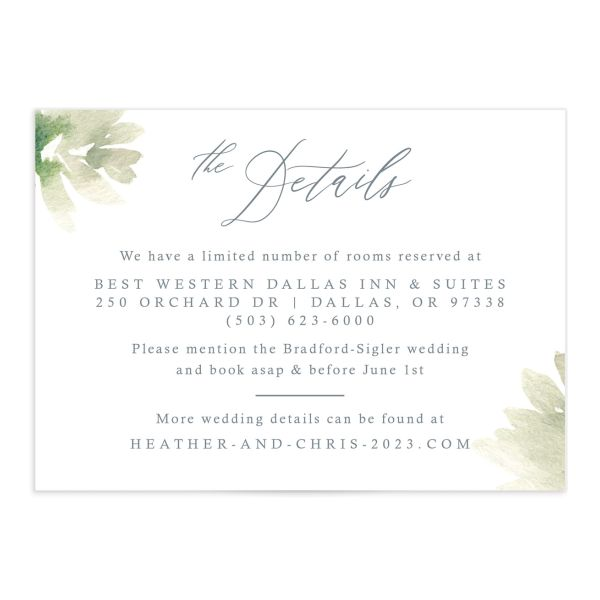 Dusted Calligraphy Wedding Enclosure Card Front Blue
