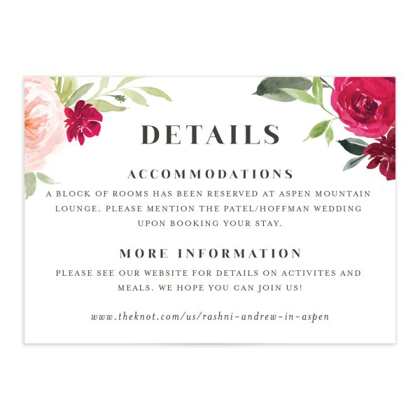 Vibrant Floral wedding enclosure card catalog in pink