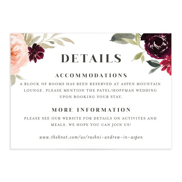Vibrant Floral wedding enclosure card catalog in red