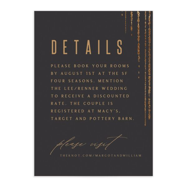 Classic Cascade Wedding Enclosure Card Front Black