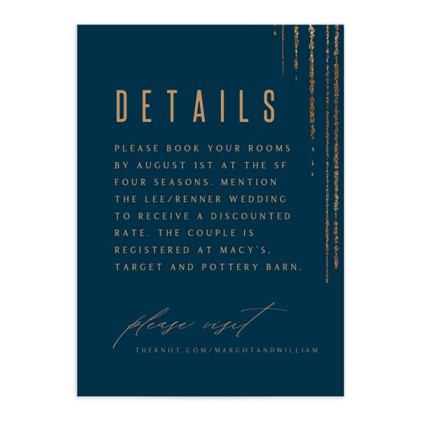 Classic Cascade Wedding Enclosure Card Front Navy