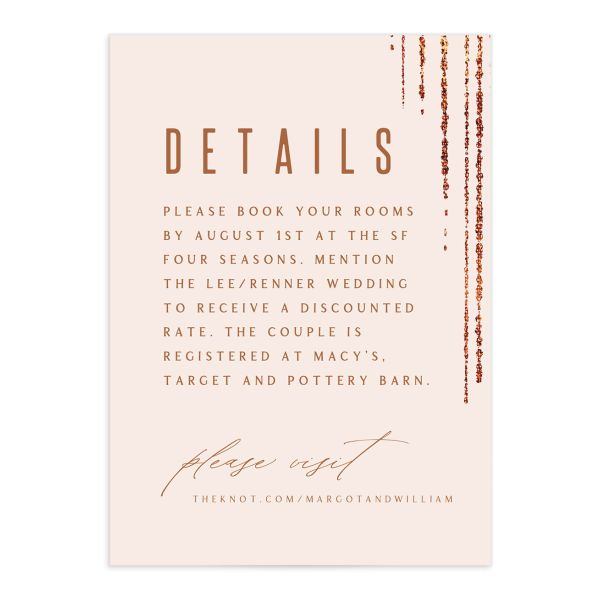 Classic Cascade Wedding Enclosure Card Front Blush