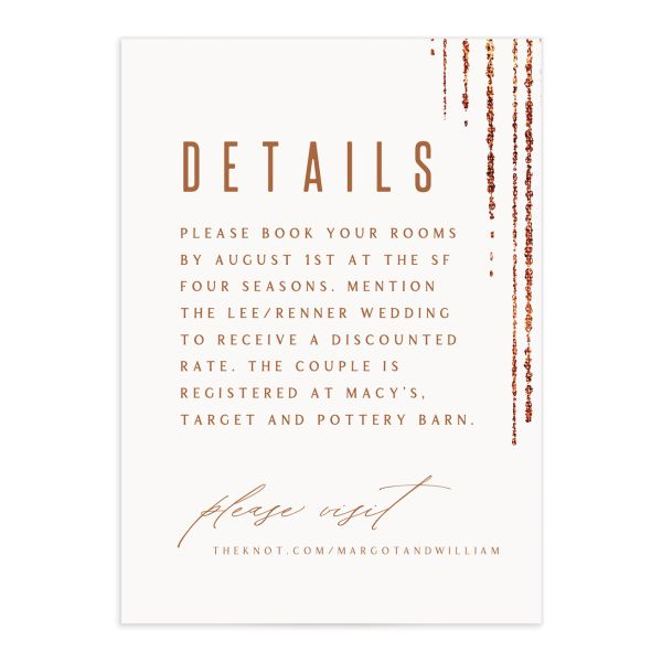 Classic Cascade Wedding Enclosure Card Front White