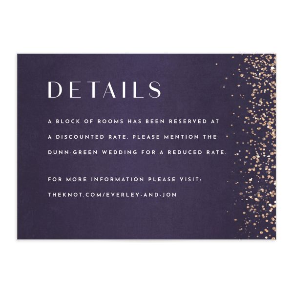 Sparkling Romance Wedding Enclosure Card Purple Front
