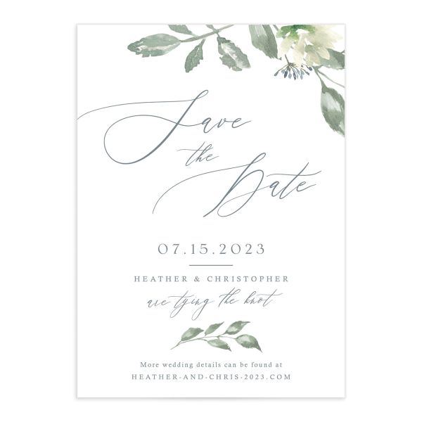 Dusted Calligraphy Wedding Save the Date Card Front Blue