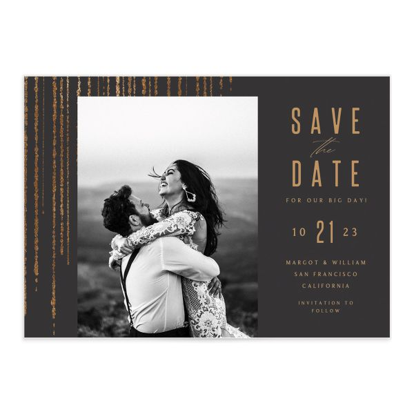 Classic Cascade Save the Date Card Front Black