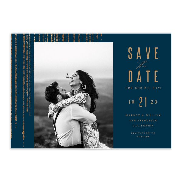 Classic Cascade Save the Date Card Front Navy