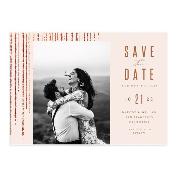 Classic Cascade Save the Date Card Front Blush