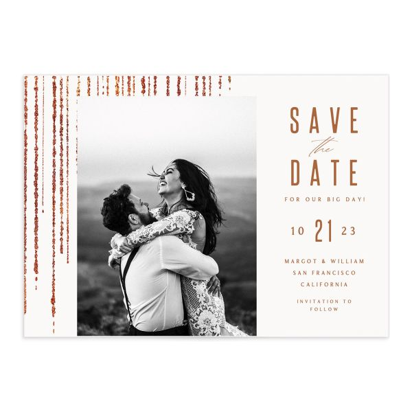 Classic Cascade Save the Date Card Front White