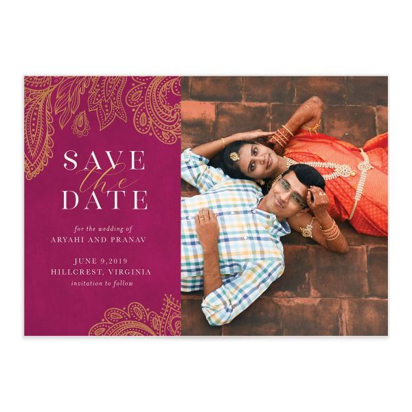 Ornamental Elegance Save The Date Card Front Pink