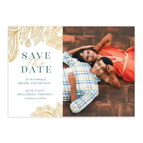 Ornamental Elegance Save The Date Card Front White