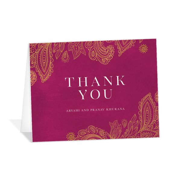 Ornamental Elegance Thank You Card Front Pink