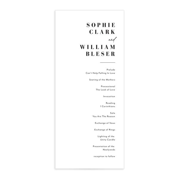Modern Bodoni wedding program front
